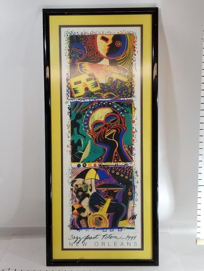 Jazz Feast Totem New Orleans 1994 Framed Art Signed 330/500 40in Tall 19in Wide