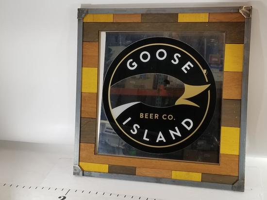 Goose Island Bar Co. Framed Glass Bar Sign 21in Tall 2ft Wide