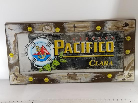 Pacifico Cerveza Clara Wooden Framed Bar Glass Artwork 16in Tall l4ft Wide