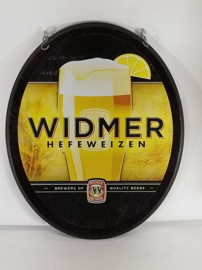 Wider Hefeweizen Wooden Oval Bar Sign 19in Tall 1ft wide