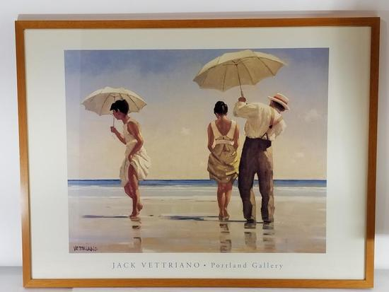 Jack Vettriano Signed Portland Gallery Framed Art Signed 21in Tall 44in Wide