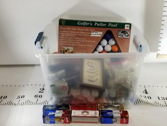 Box of Various Golf Items Sleeves of balls Titelest Noodle, Tee's,gloves Box 9in Tall 17in wide