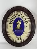Whitebread Ale Framed Bar Glass 15in Tall 8in Wide some scratches on frame