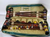 Spalding Croquet Bocce Ball Set Clubs Balls Bag some wear to the bag
