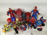 Box of SpiderMan Toys Of Various Sizes- Simpsons Burger King Toys- Austin Powers Figurines
