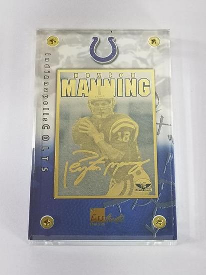 1998 NFL 24K Gold Metal Collectible Peyton Manning Rookie Card Limited Edition Number 59 of 750