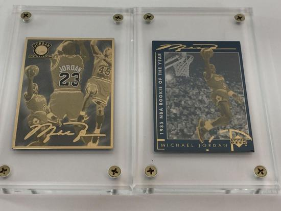 NBA Michael Jordan Career & 1985 RoY Gold 2-Card Production Proof Set