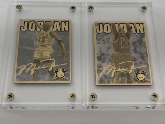 NBA Michael Jordan Dunking & Shooting 24K Gold 2-Card Production Proof Set