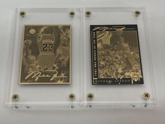 NBA Michael Jordan Career & 1985 RoY 24k Gold 2-Card Production Proof Set