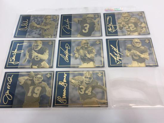 Upper Deck 1993 NFL 24K Gold 8-Card Set with Matching LE #'s 1,263