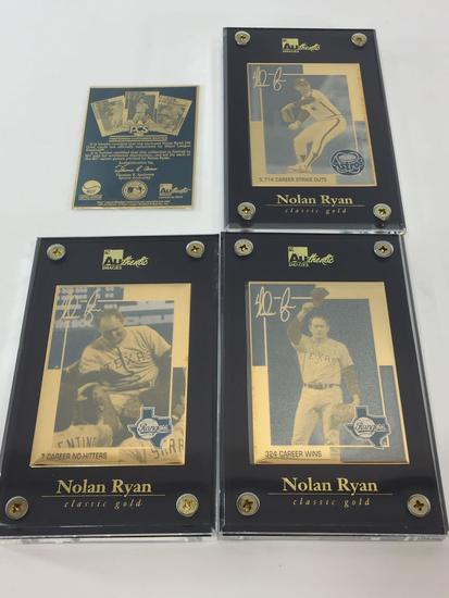 MLB Nolan Ryan 24k Gold 3-Card Set- Limited Edition Set # 631/807