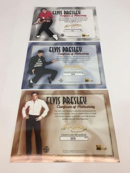 Elvis Presley 24k Gold Signature Collectible 3-card MATCHING STANDEE SET -- LE 9, 9, 9,