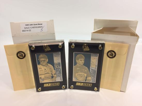 1995 Press Pass NASCAR Dale Earnhardt & Jeff Gordon 24k Gold Metal 2-Card Matched Set -LE 15
