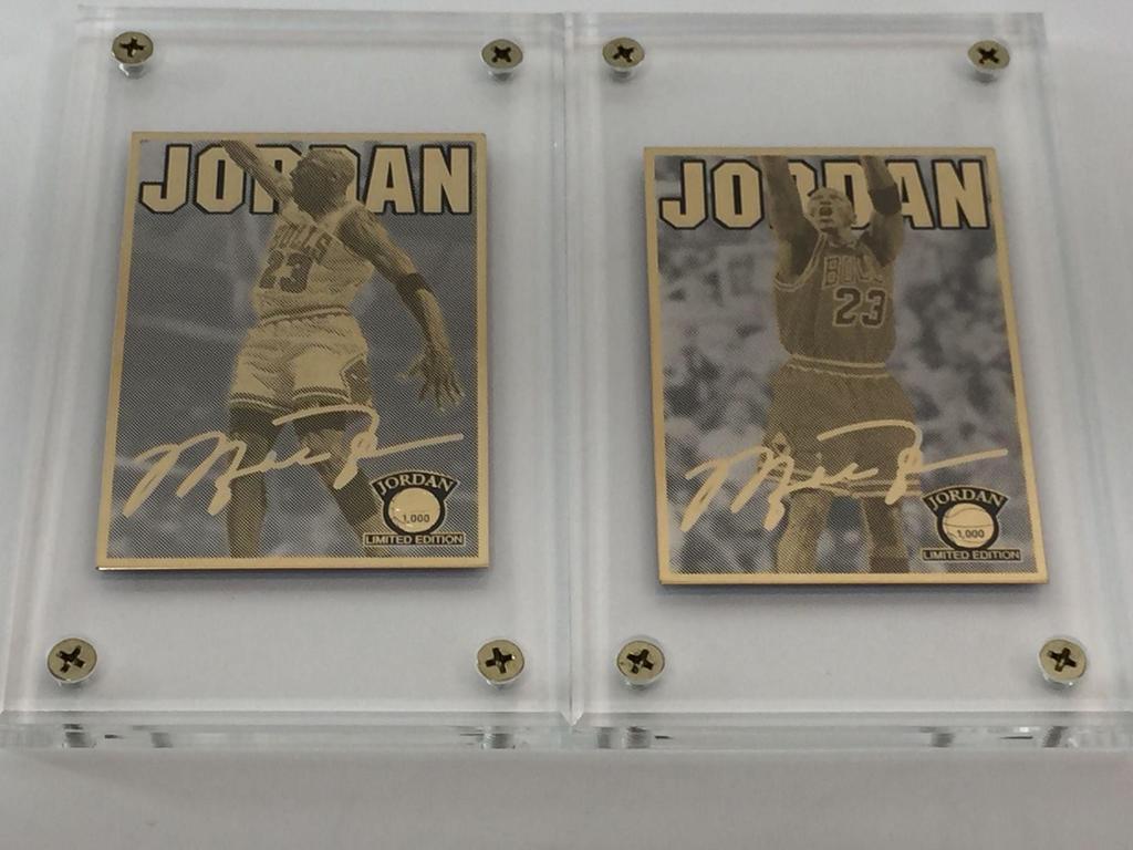 NBA Michael Jordan Dunking & Shooting 24K Gold 2-Card Production Proof Set