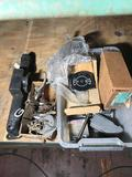 Box of Vintage Car Parts Handles Lights Emblems Location Cargo Container