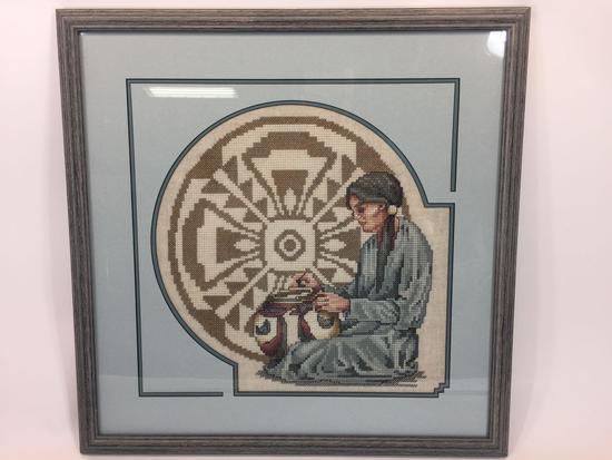 Custom Framed Native American Themed Cross Stitch 22in x 22in