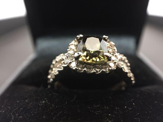14K White Gold 1.18 carat Alexandrite 0.76 carats Diamond Ring GIA & AIGL Certificates size 6