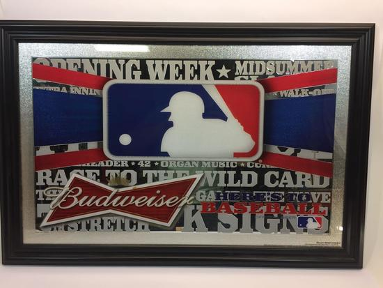 Framed Art Budweiser MLB Baseball 24x36in