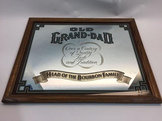 Framed Mirror Art Old Grand-Dad Bourbon 18x22in