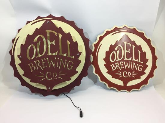 Odell Brewing Co. Metal Art Zeon 21in and 18in Diameters