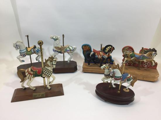 Lot of 6 Horse Figurines and Music Boxes Willitts Designs, S.F. Music Box Co., etc