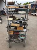 Rack of Car Tools, Parts, Electrical Components, Wheel Castings, Miscellaneous