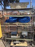 Rolling Metro Shelving Rack with Misc Vintage and / or antique car Parts pumps motors