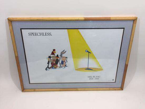 Framed Poster says Warner Bros 1989 Looney Toon Mel Blanc Memorial Artwork Speechless 21x30in