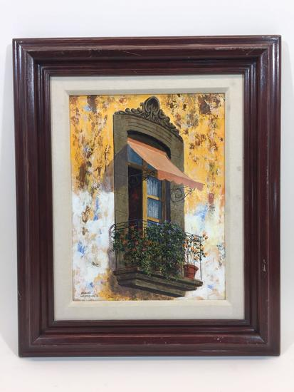 Balcony Oil on Board signed says Alvaro Mendoza Framed 24x20in.