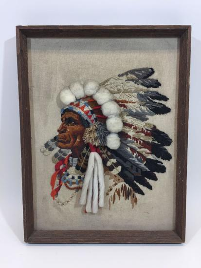 Framed Native American Fabric Art 21x16in