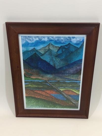 Framed Print 20x16in says Roads Less Travelled by Lawrie Dignan