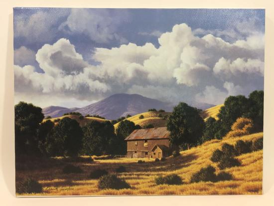 Landscape Lithograph 18x24in. says James Fetherolf California Patterns Barn