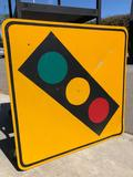 Upcoming Traffic Light 3ft And No Left Turn Signs 26in