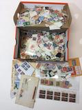 Box of hundreds of Stamps, US, Foreign, Hitler