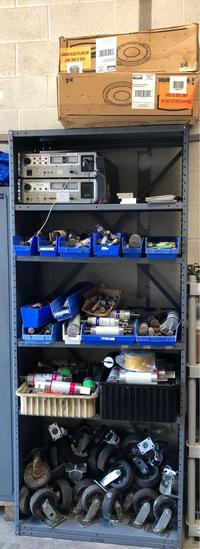 Shelving with Hi-Pot Testers, Variety of Fuses, 44 Gal Brute Combo w/ Venting Channels and Wheels