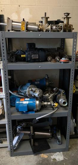 Shelving with Electric Motors, Filter Pumps, Angle Gears