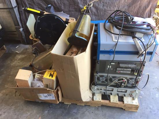 Pallet of Electronics, LeCroy 9450 Dual 350 MHz Oscilloscope, Hewlett-Packard Power Supply,