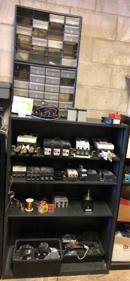 Shelving with Circuit Breakers and Components