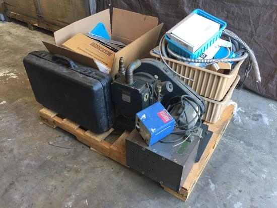 Pallet of Electonics, Computer Components, Welch Duo-Seal Vacuum Pump,