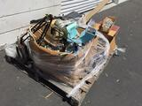 Pallet of misc, electronic components, light, duct, wiring, etc