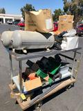 Rolling Cart with High Pressure Air Tanks, Sears Water Filter, Computer Moniter