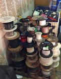 2 Pallets of wiring, cables, cords, spools of wire, copper, silver coated copper, etc
