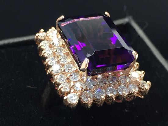 14KT Rose Gold Ring with 10.76ct Amethyst & 2.39ct Diamonds, Size 7, Certified and Graded by GGL
