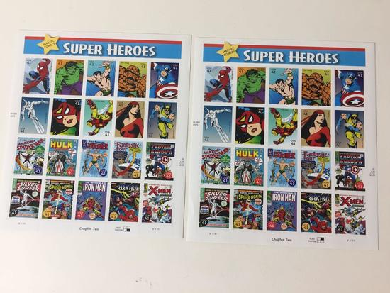 2 Marvel Comics Super Heroes US Stamp Sheets, Each Sheet has 20 x $0.41 Cent Stamps