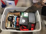 Box of Records, 1400 psi power stainer, military gas mask components