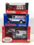TrueValue 1913 Model T, 1918 Mack Flatbed Truck, 1927 Delivery Truck Car Models NIB
