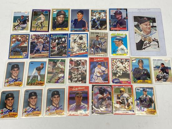 Lot of 28 Vintage Had Signed Baseball & Football Cards