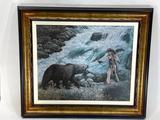 Framed Wilderness Art, Bear vs Native American 35x30in