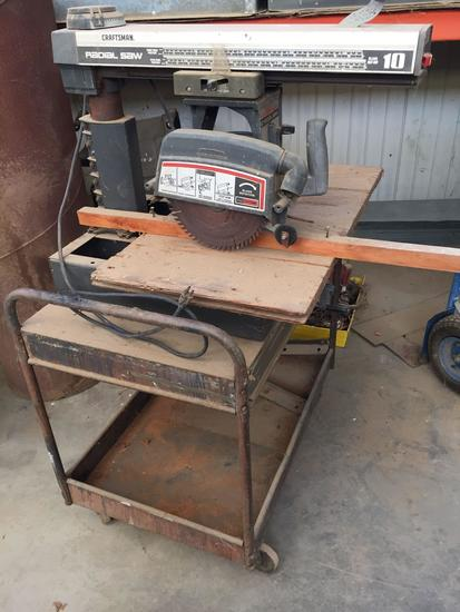 Craftsman 10in Radial Saw, Mounted onto Cart, Turns On