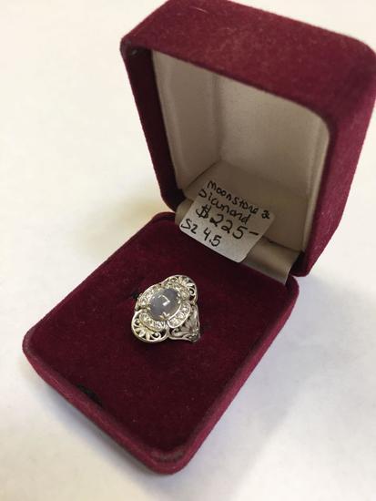Moonstone & Diamond Ring, Size 4 1/2, Test as Diamond